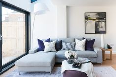 Contemporary living room with grey corner sofa and purple accents styled by Oh I… – Hazir Site Corner Sofa Living Room, Grey Corner Sofa, Living Room Grey, Living Room Sets, Living Room Designs, Bedroom Furniture Redo, Living Room Furniture, Living Room Decor, Furniture Dolly