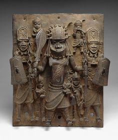 Plaque: Warrior and Attendants [Nigeria; Edo peoples, court of Benin] (1990.332)