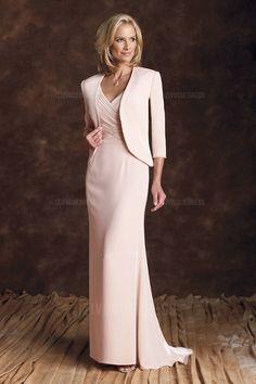 Sheath/Column V-neck Sweep/Brush Train Elastic silk-like Satin Mother of the Bride Dress