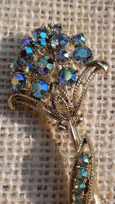 Coro Aurora Borealis AB Ice Blue Flower Brooch Mod by TheArtisanal, $36.99