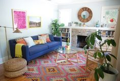 Einrichtungsideen für Wohnzimmer-Farben mit Muster kombinieren