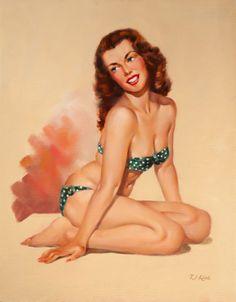 (TED) KUCK (American, d. Brunette Beauty in a Green Bikini, Brown & Bigelow calendar illustration - Available at 2014 May 7 Illustration Art. Some Girls, Pin Up Girls, Earl Moran, Gina Lollobrigida, Calendar Girls, Photo Pin, Green Bikini, Polka Dot Bikini, Brunette Beauty