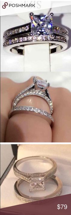 New 18 k white gold wedding ring set Brand new 18 k white gold filled with lab created diamonds engagement wedding ring set. ( engagement ring and wedding ring) Available in all sizes. Swarovski Jewelry Rings