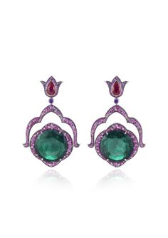 CHOPARD Pair of Earclips A FABULOUS PAIR OF EMERALD AND GEM-SET EARRINGS
