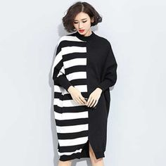 Black and white striped long sleeve sweatshirt pullover for women
