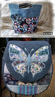 Best 11 a great way to recycle jeans, and scrap fabric, and I like the use of the jeans pockets…CAN purchase this, but it's NOT in English by delia – SkillOfKing. Sacs Tote Bags, Denim Tote Bags, Denim Purse, Patchwork Bags, Quilted Bag, Jean Purses, Purses And Bags, Sac Granny Square, Butterfly Bags
