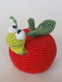 William the Worm  Amigurumi Crochet Pattern von IlDikko auf Etsy, $3.20, Häkelanleitung Apfel mit Wurm, Häkeln