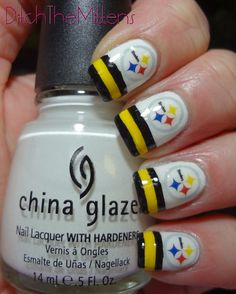 China Glaze - White Out (White)  OPI - Good Grief! (Yellow/Gold)  OPI - Who Are You Calling Bossy?!? (Black)  Design - Nail Decals