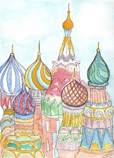 St Basils Cathedral Moscow Russia watercolor by TwoCardinalDay, $18.00