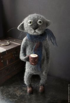 Needle felted cat with a cup of coffee