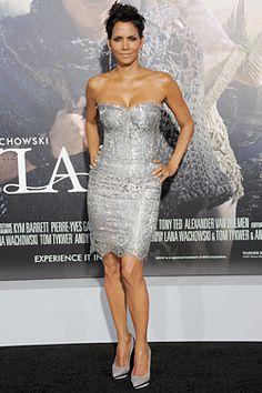 Halle Berry in silver Dolce & Gabbana at premiere of 'Cloud Atlas' in LA
