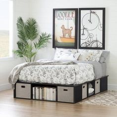 South Shore Flexible Black Oak Full-Size Platform Bed with Storage and Baskets, Box 1 of 2