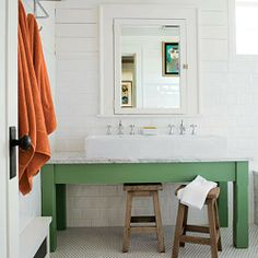 green table as sink..