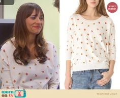 Ann's flower printed sweater on Parks and Recreation. Outfit Details: http://wornontv.net/24993 #ParksandRecreation #fashion