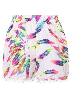 Zanzea Feather Printed Casual Beach Tassel Short Pant - Gchoic.com