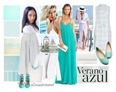 Verano Azul by styledbydoseofvitaminf on Polyvore featuring polyvore, fashion, style, BCBGMAXAZRIA, Current/Elliott, White House Black Market, Whistles, Aquazzura and Seed Design