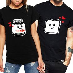 Funny New Couple Clothes Summer Cool Women T-shirt Cotton Print Nutella T Shirt Women Plus Size Tops Couple Harajuku T Shirts Source by myfinestyle outfits for teens Matching Couple Outfits, Matching Couples, Fancy Date Outfit, Couple Tees, T Shirts For Women, Clothes For Women, Couple Clothes, Cheap T Shirts, Graphic Tee Shirts