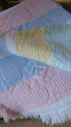 Vintage Crib Baby's Cotton Blanket Pastel Woven Knit Lap Throw Heart Ribbed Waffle Weave Blue Pink Green White Plaid with fringe Baby shower by FemmeFatalFashion on Etsy