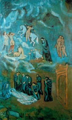 Picasso, Pablo - Evocation (The Burial of Casagemas) 1901 which Picasso uses, in a mocking, ironically religious and Spanish way, the visionary style of El Greco to lament his friend Carles Casagemas – but the heavenly revelation is populated by prostitutes in stockings...
