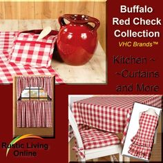 The Buffalo Red Checked Collection from VHC Brands will bring that summertime look & feel with this popular picnic checked ensemble.  From coordinating table cloths and chair mats to adorable country fresh curtains, this collection will be sure to welcome your guests with open arms! http://www.rusticlivingonline.com/Victorian-Heart-BuffaloRed-Checked-Kitchen.html