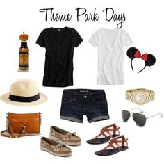 Comfy outfit for theme park, festival or sightseeing, dark tee and shorts, hat, comfy shoes