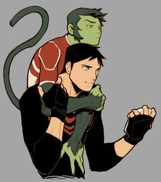 Young Justice Beast Boy and Superboy.