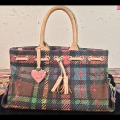 Multicolor Dooney&Bourke tassel purse Multicolored plaid canvas 2 handle tassel purse gold hardware for packets on inside Dooney and Bourke heart  shaped hang tag Dooney & Bourke Bags Totes