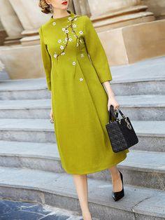 Green Floral-print Wool 3/4 Sleeve Midi Dress