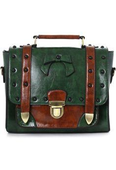 Studs Satchel Bag in Green  $59.42