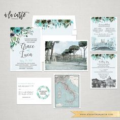 Rome Destination wedding Italy Wedding Invitation Suite Rome Roma Italian Colosseum Vatican illustrated wedding invitation