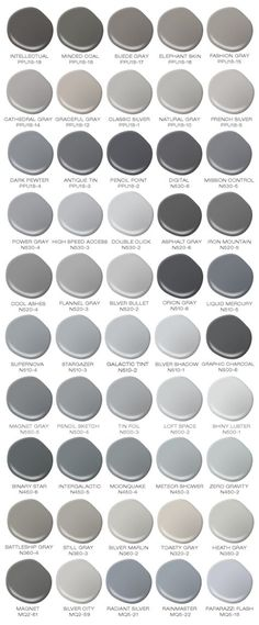 Do you love the color grey? I would paint every room in my house a different color grey! Colorfully BEHR has compiled a safe for work version of 50 Shades of Grey (paint shades that is). Br House, House Bath, Cozy House, Grey Paint Colors, Colour Gray, Neutral Paint, Neutral Colors, Warm Grey Paint, Behr Exterior Paint Colors