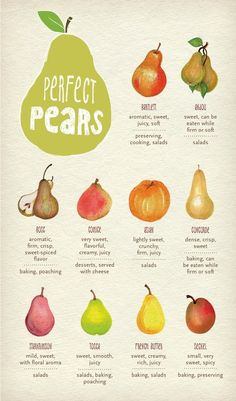 Never use the wrong pear again! Links to Whole Foods Market website. Pear Recipes, Fruit Recipes, Whole Food Recipes, Cooking Recipes, Healthy Recipes, Juice Recipes, Cooking Videos, Smoothie Recipes, Whole Foods Market