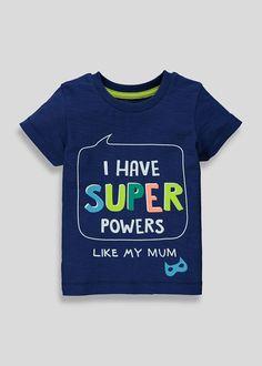 Kids Super Powers Slogan T-Shirt – Navy – Matalan Justice Clothing, Boy Clothing, Baby Boy Outfits, New Outfits, Slogan Design, Summer Pajamas, Lil Boy, Graphic Quotes, Slogan Tee