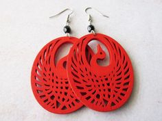 Red Wooden Peacock and Black Glass Beads Earrings