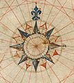 compass rose with fleur-de-lis northmark, from the portolan of Pedro Reinel Compass Tattoo, Sundial Tattoo, My Compass, Boat Illustration, Map Illustrations, Wind Rose, Mariners Compass, Medieval Manuscript, Ink