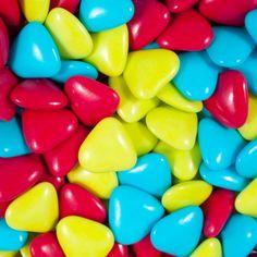 Petits Cœurs Vert Anis, Turquoise, et Rouge Framboise