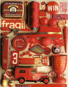 guido cecere ensemble in color Color Azul, Red Color, Things Organized Neatly, Art Brut, Simply Red, Color Studies, Assemblage Art, Red Aesthetic, Corporate Design