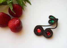 Cherry brooch. Unique brooch. Zipper Cherry brooch. by ZASTIBKA