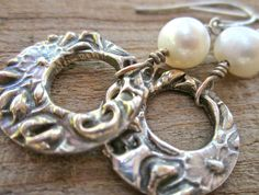 Textured Silver Hoops and Pearls. $39.50, via Etsy.