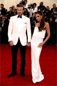 David Beckham in Ralph Lauren Black Label and Victoria Beckham in Victoria Beckham at MetGala 2014