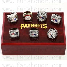In Stock New England Patriots NFL Championship Rings Set Wooden Display Box  Collections 98e6dfbf3