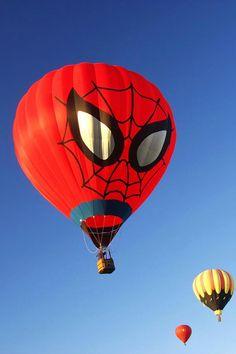 Spider-Man hotair ballon Balloon Glow, The Balloon, Hot Air Balloon, Balloons, Air Ballon, Warm Bed, Weird Pictures, Vintage Comics, Spiderman