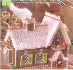 """Plastic Canvas Gingerbread House 8"""" Tall Pattern Instructions  #Unbranded"""