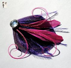 Oh Lucy Handmade CIRQUE Peacock Mini Feather Hair Clip with Crystal, Feather Fascinator in Dark Purple and Fuchsia - Bridal hair accessories (*Amazon Partner-Link)