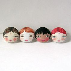 """These cute little doll face fabric buttons are great for embellishing all sorts of items: clothes / knitwear, hats, bags and soft furnishings. They can also be used to make earring, bracelets, brooches and in quilting / applique projects. The buttons have plastic shanks and measure:  4 x 29mm (1 1/8"""")  Handwash in cool water.  © Zouzou Design, all rights reserved."""
