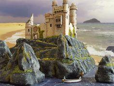 D'après Hergé - Maquette privée faite à la main - Le château de Ben More - Tintin L'Ile noire