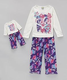 Loving this Purple 'Love' Pajama Set & Doll Outfit - Toddler & Girls on #zulily! #zulilyfinds