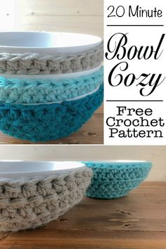 This free crochet pattern will be the most used in your home. At least it is in mine. The bowl cozy is a quick and easy, yarn stash busting free crochet pattern. This is a quick project that will leave you with a unique problem solving kitchen item that you will use time and time again. This pattern is great for beginners. #crochet #quick #easy #cozy #bowlcozy