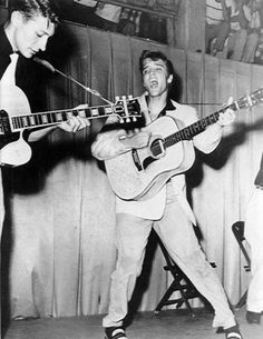 """1955, Elvis Presley (with Scotty Moore and Bill Black) played the first of two nights at the Keesler Air Force Base in Biloxi, Mississippi. The local paper ran a preview which read; 'Presley is expected to repeat some of his hit tunes at the Airmen's Club show in addition to mixing up a few country tunes with some """"bop"""" and novelty numbers.'"""