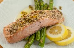 Paleo Herbes de Provence-Crusted Salmon w Citrus-herb sauce (Herbes do Provence usually has fennel seed in it, but you could make your own omitting the fennel)